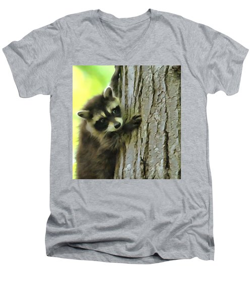 Baby Raccoon In A Tree Men's V-Neck T-Shirt by Dan Sproul