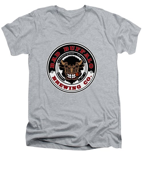 Bad Buffalo Brewing Men's V-Neck T-Shirt by Christopher Williams