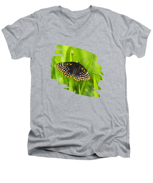 Baltimore Checkerspot Butterfly Men's V-Neck T-Shirt by Christina Rollo