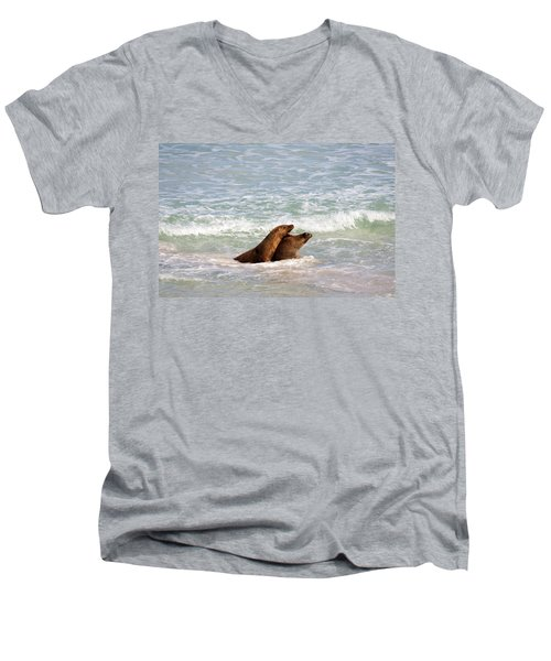 Battle For The Beach Men's V-Neck T-Shirt by Mike  Dawson
