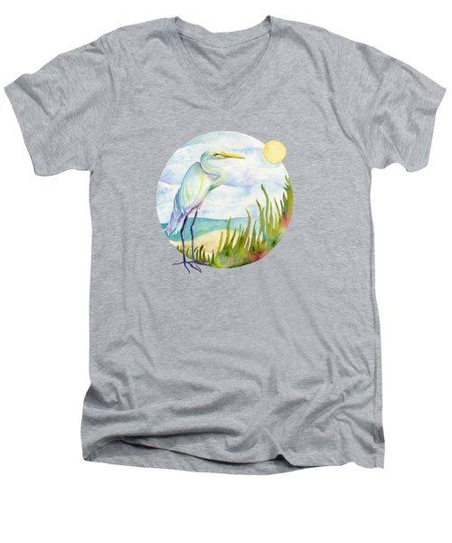 Beach Heron Men's V-Neck T-Shirt by Amy Kirkpatrick