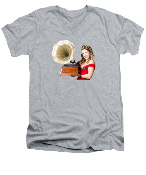 Beautiful Woman With Gramophone Isolated On White Men's V-Neck T-Shirt by Jorgo Photography - Wall Art Gallery