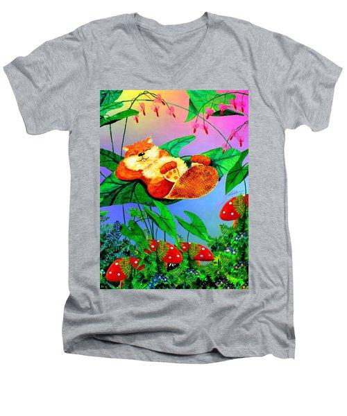 Beaver Bedtime Men's V-Neck T-Shirt by Hanne Lore Koehler