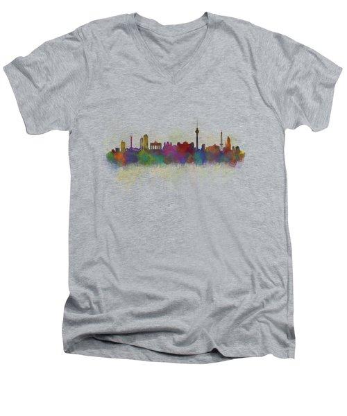 Berlin City Skyline Hq 5 Men's V-Neck T-Shirt by HQ Photo