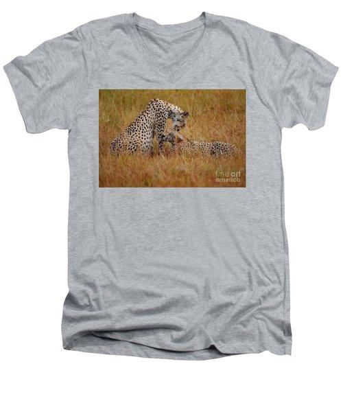 Best Of Friends Men's V-Neck T-Shirt by Stephen Smith