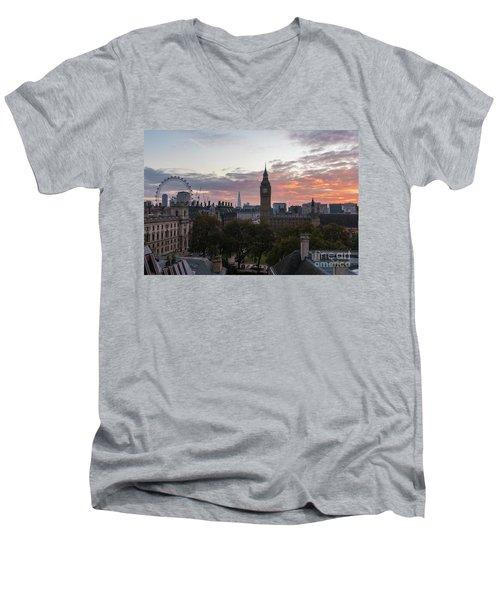 Big Ben London Sunrise Men's V-Neck T-Shirt by Mike Reid