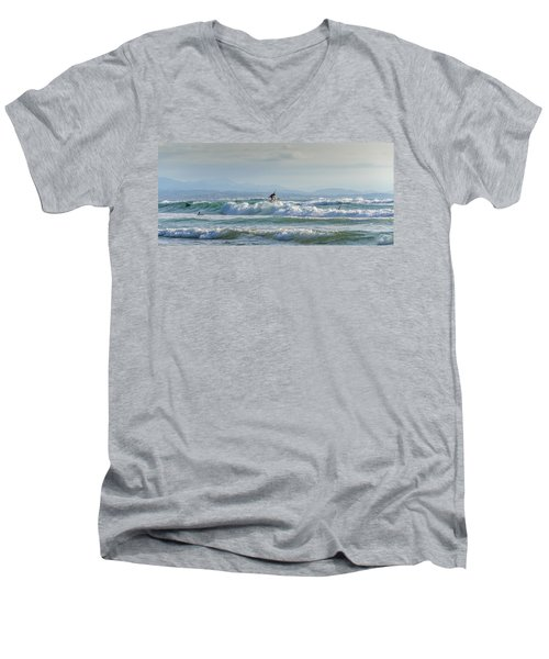 Men's V-Neck T-Shirt featuring the photograph Big Surf Invitational I by Thierry Bouriat