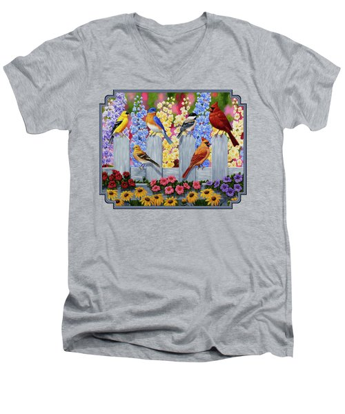 Bird Painting - Spring Garden Party Men's V-Neck T-Shirt by Crista Forest