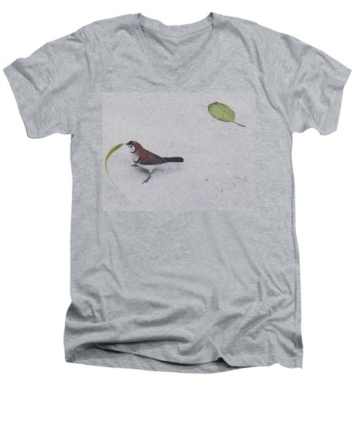 Owl Finch With Leaf Men's V-Neck T-Shirt by Sandy Taylor