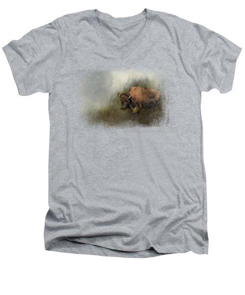 Bison After The Mud Bath Men's V-Neck T-Shirt by Jai Johnson