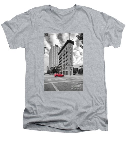 Black And White Photograph Of The Flatiron Building In Downtown Fort Worth - Texas Men's V-Neck T-Shirt by Silvio Ligutti