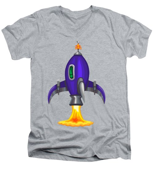Blue Bomber Rocket Men's V-Neck T-Shirt by Brian Kemper