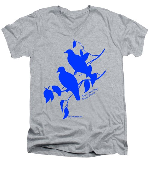 Blue Doves Men's V-Neck T-Shirt by The one eyed Raven