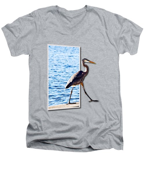 Blue Heron Strutting Out Of Frame Men's V-Neck T-Shirt by Roger Wedegis