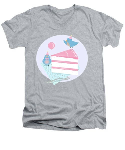 Bluebirds Love Birthday Cake Men's V-Neck T-Shirt by Little Bunny Sunshine
