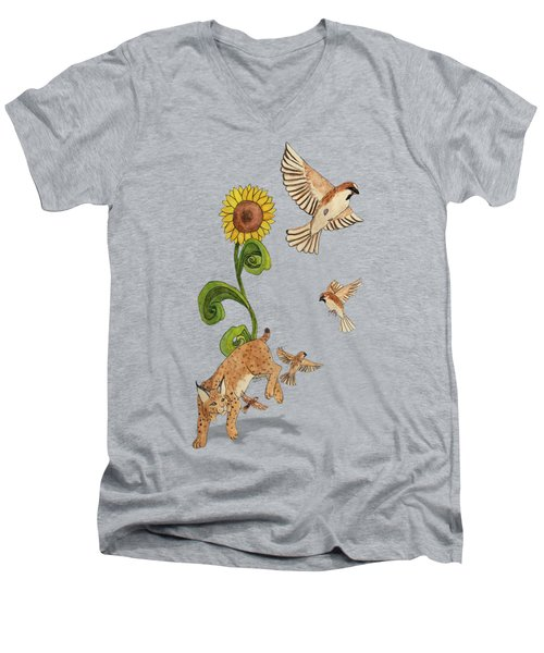 Bobcats And Beeswax Men's V-Neck T-Shirt by Teighlor Chaney