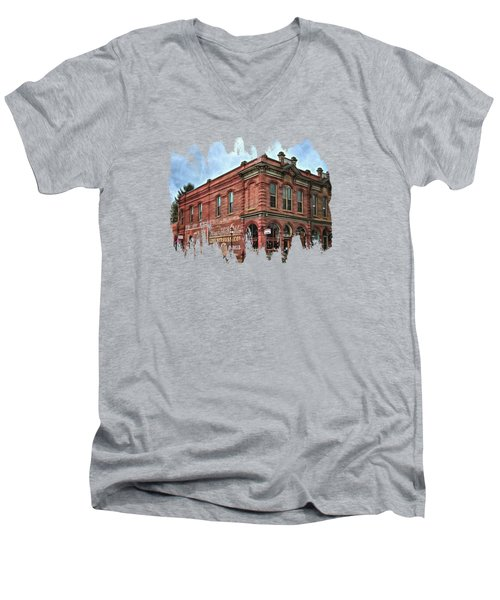 Boomtown Saloon Jacksonville Oregon Men's V-Neck T-Shirt by Thom Zehrfeld