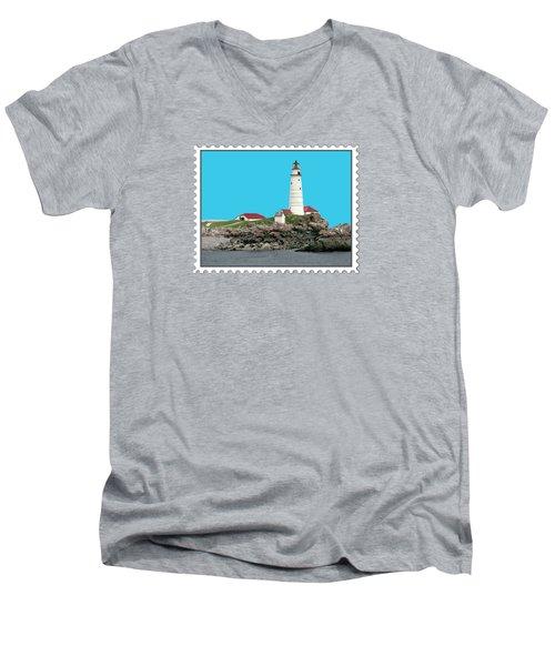 Boston Harbor Lighthouse Men's V-Neck T-Shirt by Elaine Plesser
