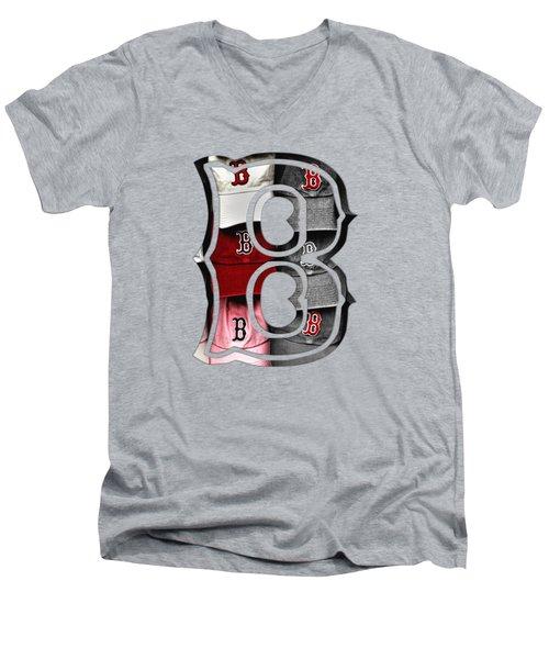 Boston Red Sox B Logo Men's V-Neck T-Shirt by Joann Vitali