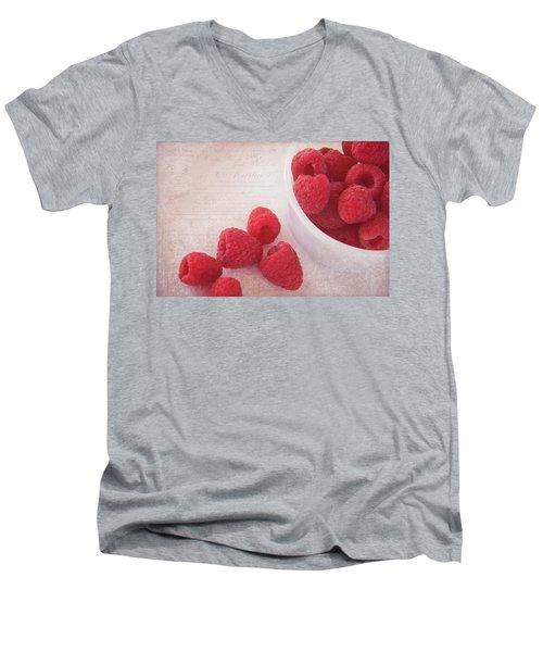 Bowl Of Red Raspberries Men's V-Neck T-Shirt by Cindi Ressler