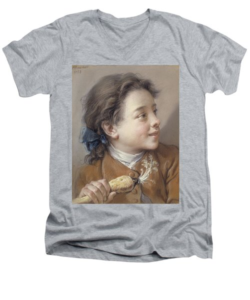 Boy With A Carrot, 1738 Men's V-Neck T-Shirt by Francois Boucher