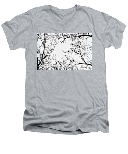 Branches And Birds Men's V-Neck T-Shirt by Sandy Taylor