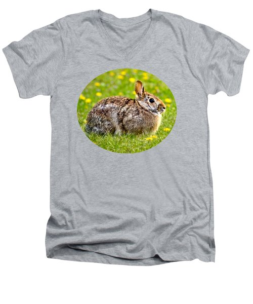Brown Bunny In Green Grass Men's V-Neck T-Shirt by Christina Rollo