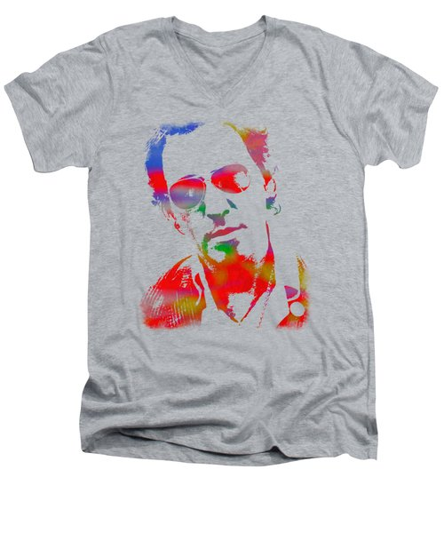 Bruce Springsteen Watercolor Portrait On Worn Distressed Canvas Men's V-Neck T-Shirt by Design Turnpike