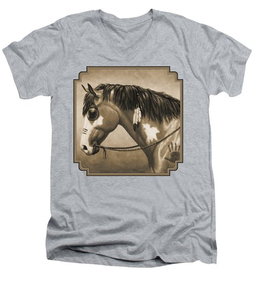 Buckskin War Horse In Sepia Men's V-Neck T-Shirt by Crista Forest