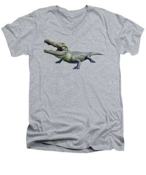 Bull Gator Transparent For T Shirts Men's V-Neck T-Shirt by D Hackett
