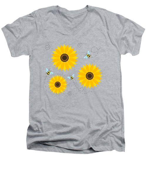 Busy Bees And Sunflowers - Large Men's V-Neck T-Shirt by Shara Lee