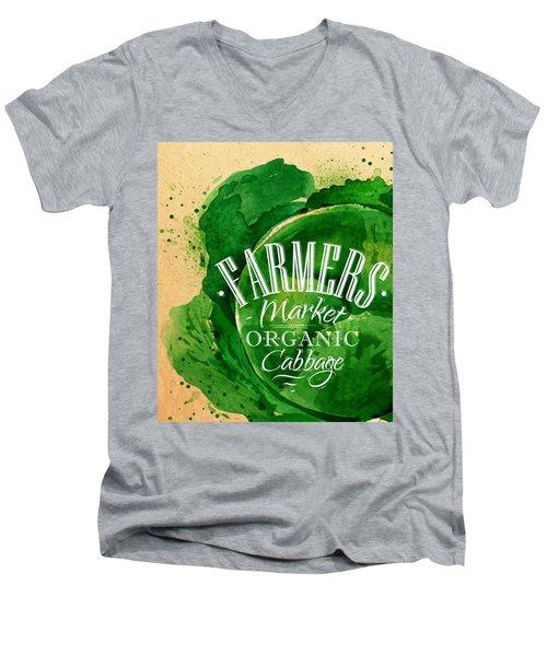 Cabbage Men's V-Neck T-Shirt by Aloke Design