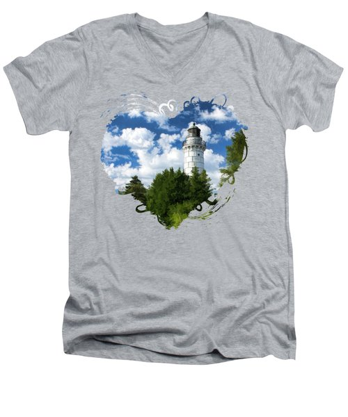 Cana Island Lighthouse Cloudscape In Door County Men's V-Neck T-Shirt by Christopher Arndt