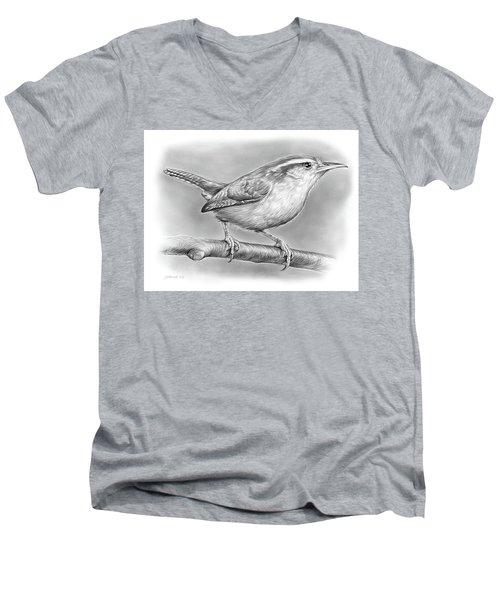 Carolina Wren Men's V-Neck T-Shirt by Greg Joens