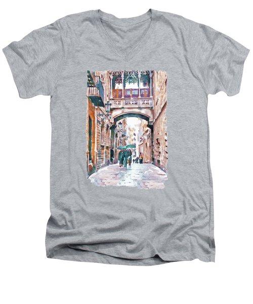 Carrer Del Bisbe - Barcelona Men's V-Neck T-Shirt by Marian Voicu