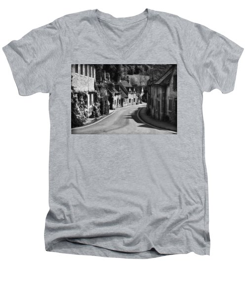 Castle Combe England 2 Bw  Men's V-Neck T-Shirt by Mike Nellums
