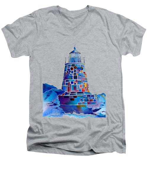 Castle Hill Newport Lighthouse Men's V-Neck T-Shirt by Jo Lynch