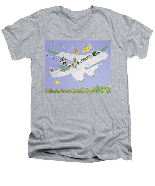 Cat Air Show Men's V-Neck T-Shirt by Pat Scott