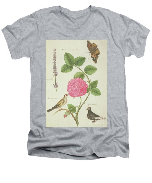 Centifolia Rose, Lavender, Tortoiseshell Butterfly, Goldfinch And Crested Pigeon Men's V-Neck T-Shirt by Nicolas Robert