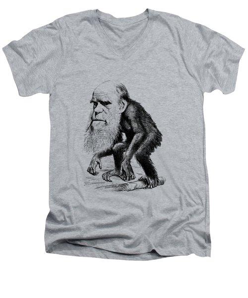 Charles Darwin As An Ape Cartoon Men's V-Neck T-Shirt by War Is Hell Store