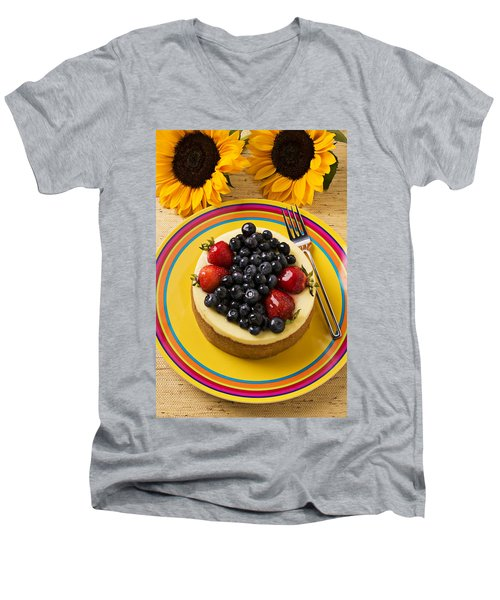 Cheesecake With Fruit Men's V-Neck T-Shirt by Garry Gay