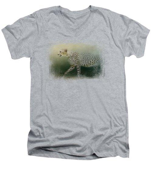 Cheetah On The Prowl Men's V-Neck T-Shirt by Jai Johnson