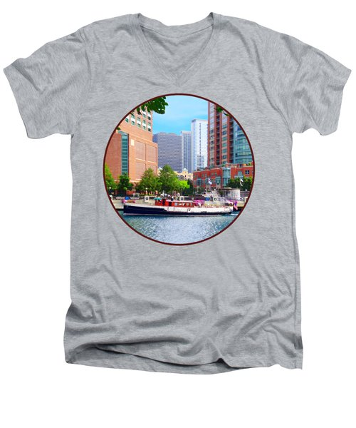 Chicago Il - Chicago River Near Centennial Fountain Men's V-Neck T-Shirt by Susan Savad