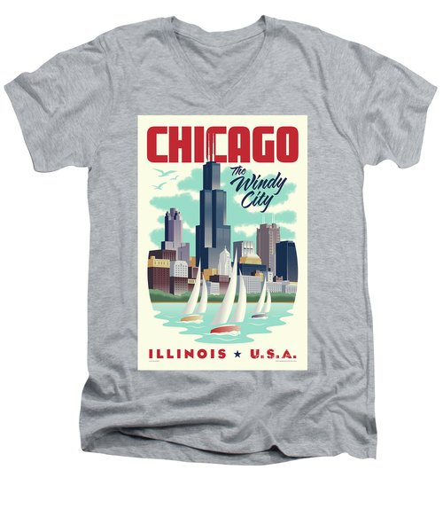 Chicago Retro Travel Poster Men's V-Neck T-Shirt by Jim Zahniser