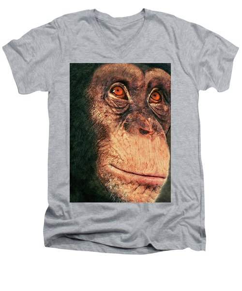 Chimp Men's V-Neck T-Shirt by Jack Zulli