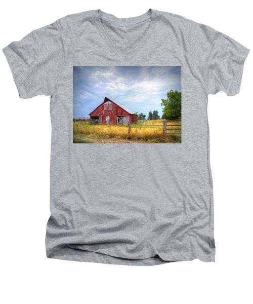 Christian School Road Barn Men's V-Neck T-Shirt by Cricket Hackmann