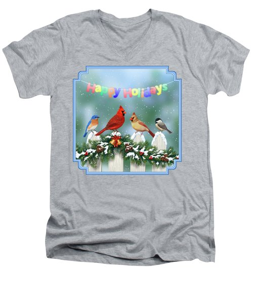 Christmas Birds And Garland Men's V-Neck T-Shirt by Crista Forest