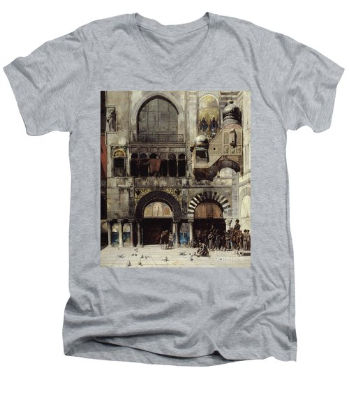 Circassian Cavalry Awaiting Their Commanding Officer At The Door Of A Byzantine Monument Men's V-Neck T-Shirt by Alberto Pasini