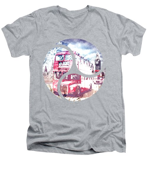 City-art London Red Buses On Westminster Bridge Men's V-Neck T-Shirt by Melanie Viola