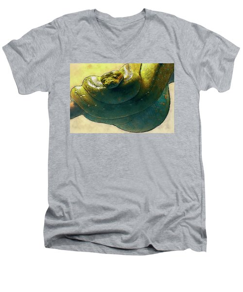 Coiled Men's V-Neck T-Shirt by Jack Zulli